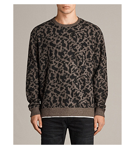 ALLSAINTS Animal-patterend knitted jumper (Khaki+brown/bl
