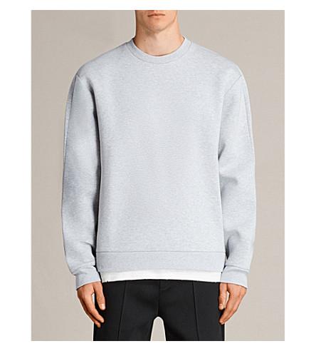 ALLSAINTS Remus crewneck neoprene sweatshirt (Grey+marl/putt