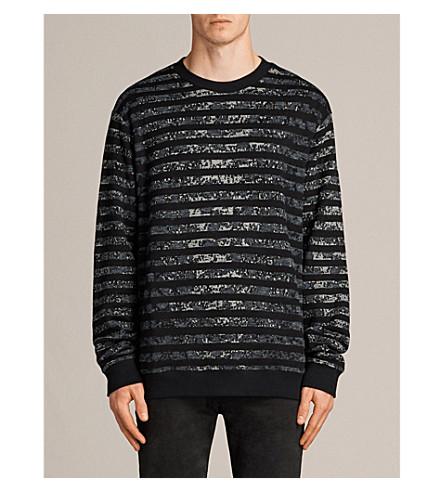ALLSAINTS Trico leopard-print striped jumper (Charcoal+marl