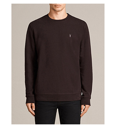 ALLSAINTS Raven cotton-fleece sweatshirt (Aubergine+red