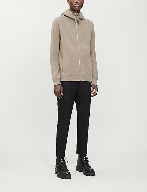 ALLSAINTS Lutra logo-embroidered cotton-jersey hoody