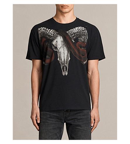 ALLSAINTS Zamiens ram skull print cotton T-shirt (Jet+black