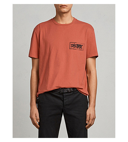 ALLSAINTS Distroy oversized cotton-jersey T-shirt (Block+red/blac