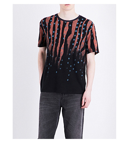 ALLSAINTS Stars and Bars cotton and linen-blend T-shirt (Jet+black/ink