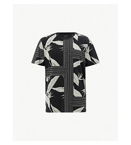 ALLSAINTS Virginia Border contrast-print oversized cotton-jersey T-shirt (Vintage black