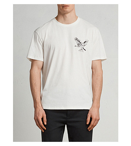 ALLSAINTS Sunbird eagle-print cotton-jersey T-shirt (Chalk+white