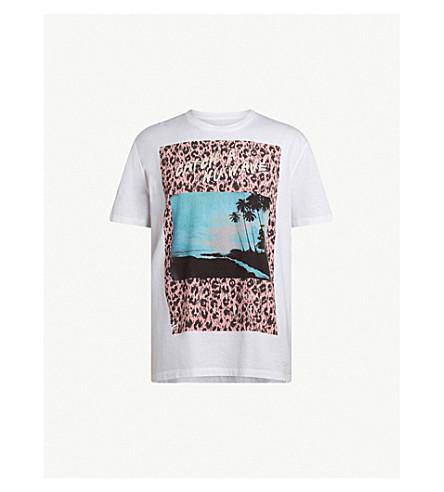 ALLSAINTS 地平线印刷平纹针织棉 T 恤 (光学 + 白色