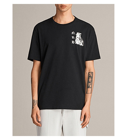 ALLSAINTS Nothing Really Happens Busted cotton T-shirt (Jet+black