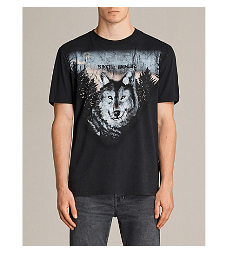ALLSAINTS Night Wolves printed cotton-jersey T-shirt (Black