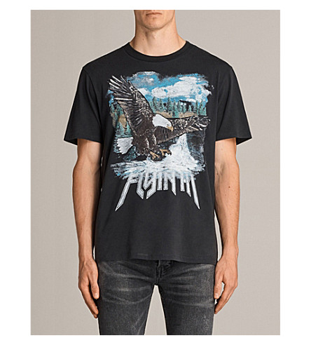 ALLSAINTS Flyin High printed cotton-jersey T-shirt (Vintage+black