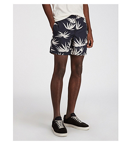 ALLSAINTS 不丹热带打印游泳短裤 (黑色