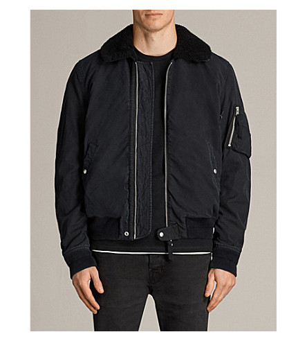 ALLSAINTS Faro faux-wool collar bomber jacket (Black