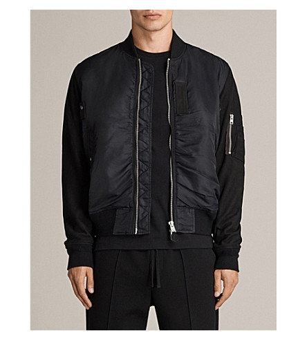 ALLSAINTS Bate shell and leather jacket (Black