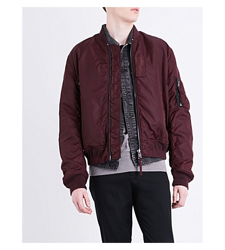 ALLSAINTS Henson quilted bomber jacket (Oxblood+red