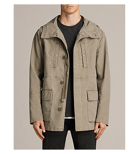 ALLSAINTS Bedard khaki cotton jacket (Dusty+khaki+gr