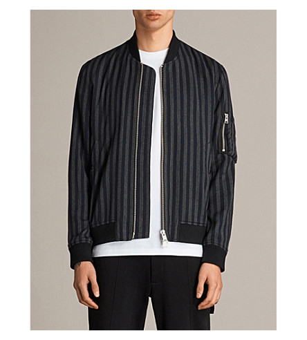 ALLSAINTS Nothing Really Happens Robertson striped cotton bomber jacket (Black/ink