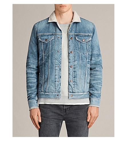 ALLSAINTS Ikano contrasting-collar denim jacket (Indigo+blue