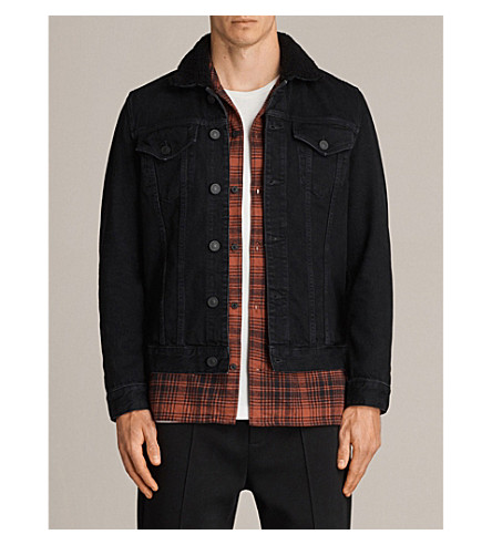 ALLSAINTS Bikana shearling-collar denim jacket (Black