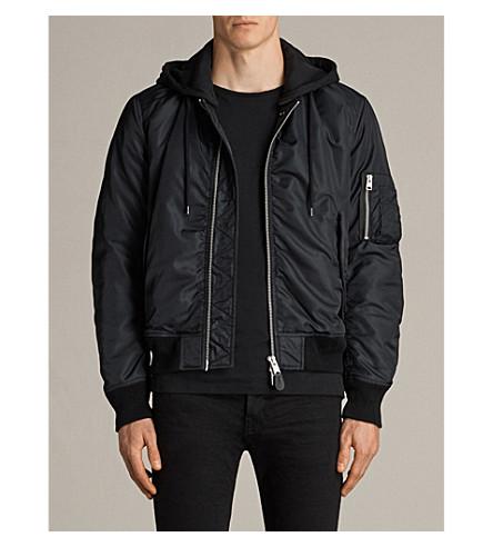 ALLSAINTS Tyssen padded shell hooded bomber jacket (Black