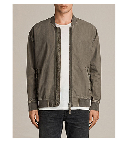 ALLSAINTS Blix linen and cotton-blend jacket (Ash+khaki