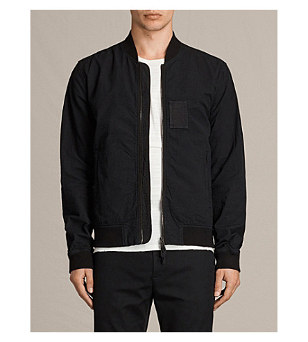 ALLSAINTS Cray seersucker cotton bomber jacket (Black
