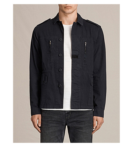 ALLSAINTS Taylor stretch-cotton military jacket (Ink+navy