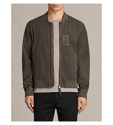 ALLSAINTS Ray seersucker cotton bomber jacket (Ash+khaki