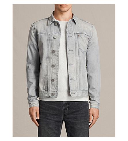 ALLSAINTS Garret pleated denim jacket (Grey