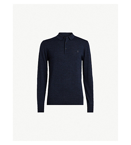 ALLSAINTS Mode slim-fit wool polo shirt (Aurorablue+mou