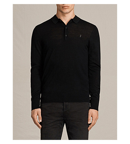 ALLSAINTS Mode slim-fit wool polo shirt (Black