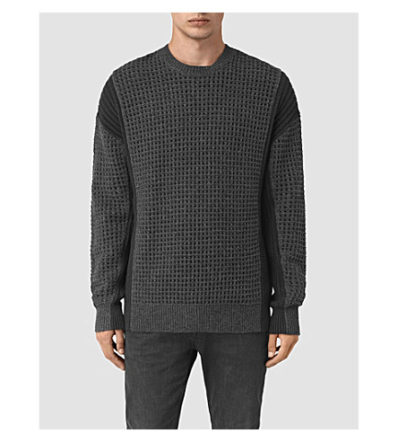 ALLSAINTS Panelled knitted jumper (Charcoal+marl