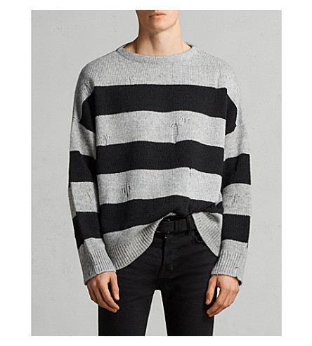 ALLSAINTS Demo striped knitted jumper (Grey+marl/blac