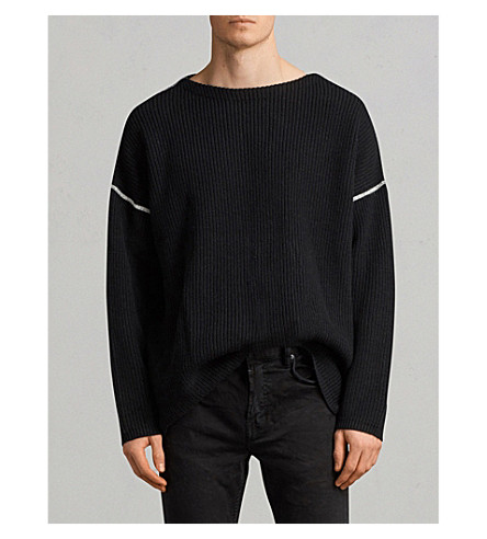 ALLSAINTS Ribbed knitted cotton-blend jumper (Black