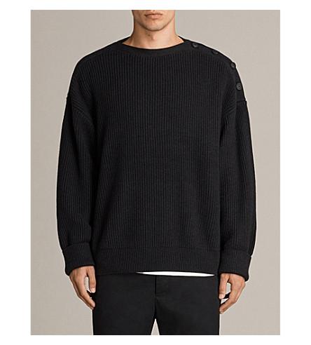 ALLSAINTS Cinder button-detail ribbed-knit jumper (Cinder+black+m