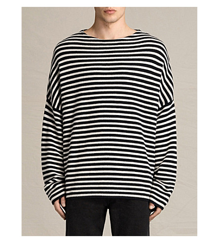 ... ALLSAINTS Marcel oversized cotton and wool-blend sweater  (Inknavy/ecruwh. PreviousNext
