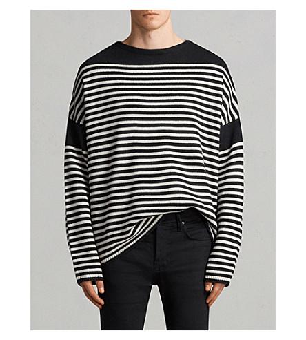 ALLSAINTS Alzette striped knitted jumper (Black/ecru+whi