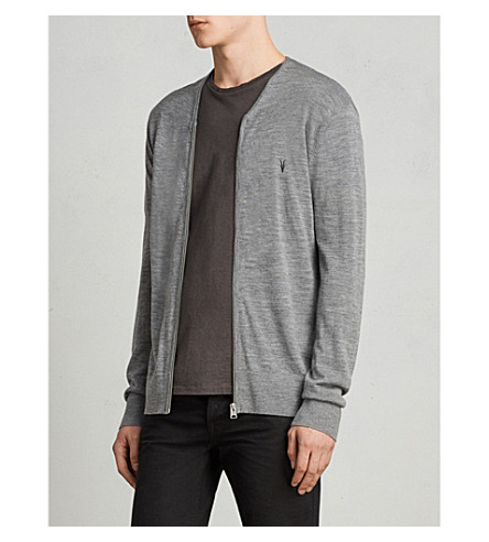 ALLSAINTS Mode logo-embroidered merino wool cardigan (Grey+marl