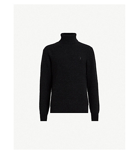ALLSAINTS Raynes logo-embroidered knitted turtleneck sweater (Cinder black m
