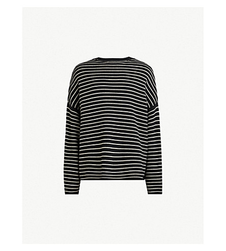ALLSAINTS Marty striped knitted sweater (Blackecruwhi