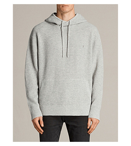 ALLSAINTS Enton wool-blend hoody (Grey+marl