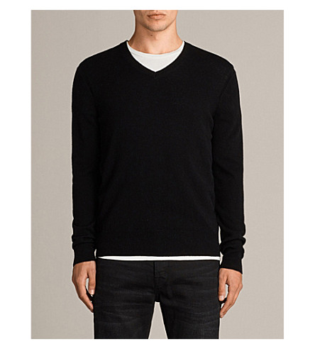 ALLSAINTS Alec V-neck fine-knit wool jumper (Black