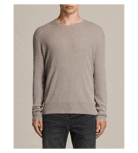ALLSAINTS Jace cotton and linen-blend jumper (Putty+grey+mar