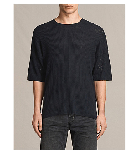 ALLSAINTS Jace cotton and linen-blend top (Ink+navy