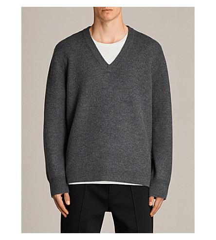ALLSAINTS Wregan V-neck wool jumper (Charcoal+marl