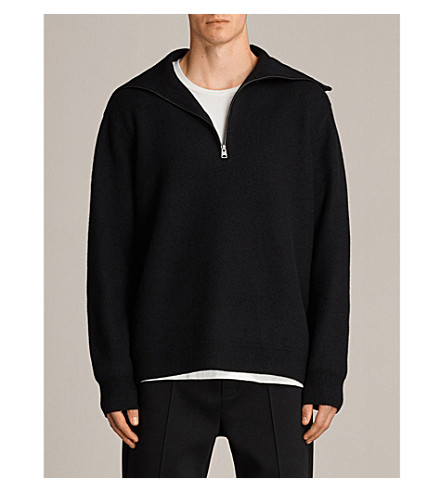 ALLSAINTS Wregan funnel-neck wool jumper (Black