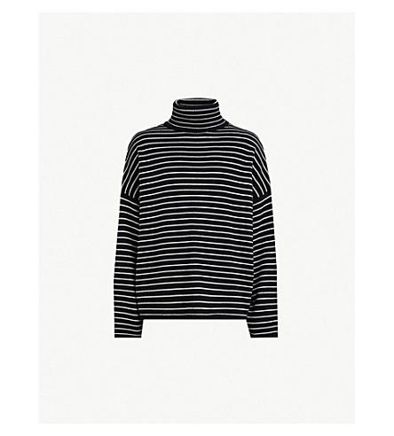 ALLSAINTS Marty striped wool-blend turtleneck sweater (Black ecru whi
