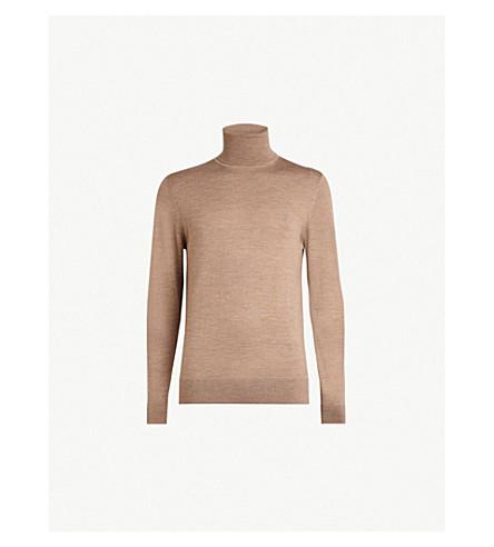 ALLSAINTS模式高领编织羊毛套头衫 (杏仁 + 棕色 + m