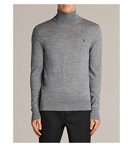 ALLSAINTS Mode turtleneck waffle-knit wool jumper (Grey+marl