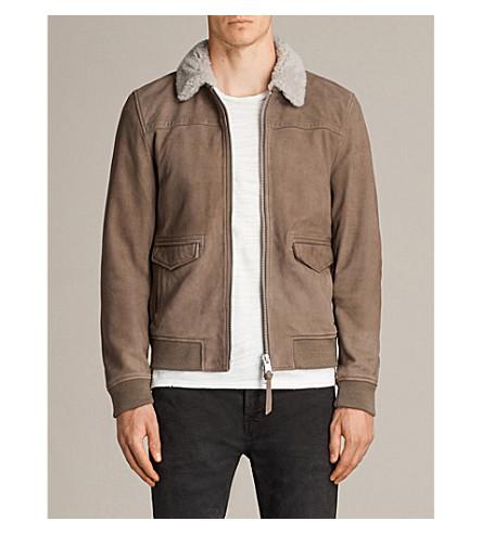 ALLSAINTS Leader suede aviator jacket (Mink+grey