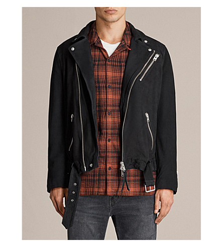 ALLSAINTS Kolton leather biker jacket (Ink+navy